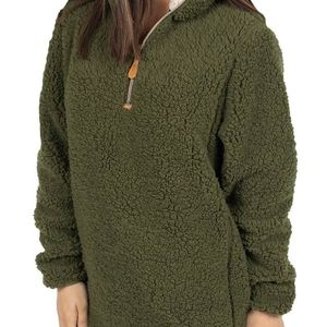 Simply Southern sherpa olive green pullover